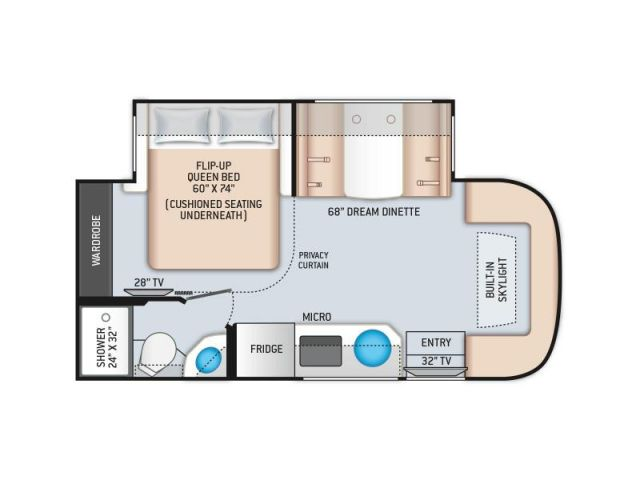 Class C Motorhome Thor Motor Coach Compass 23TW Silverpointe Fibre Optic Uptown Gray