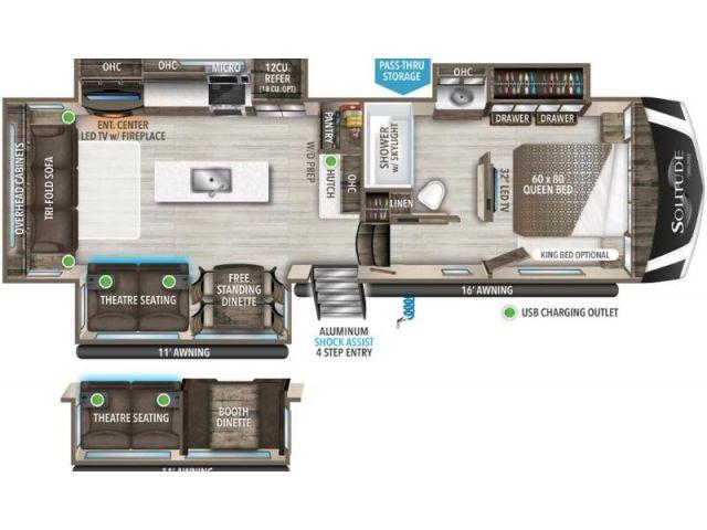 Fifth Wheel Travel Trailer Grand Design Solitude S Class 2930RL Cotton